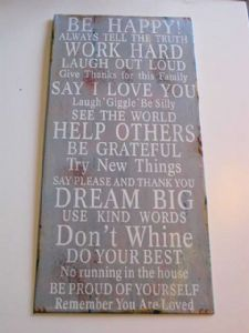 Be Happy!!   Vintage Distressed Metal Wall Sign